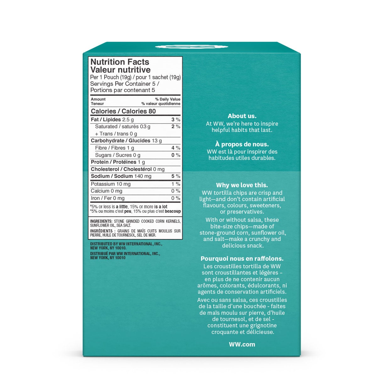 Sea Salt Tortilla Chips (3 Pack) - side 2 of the box