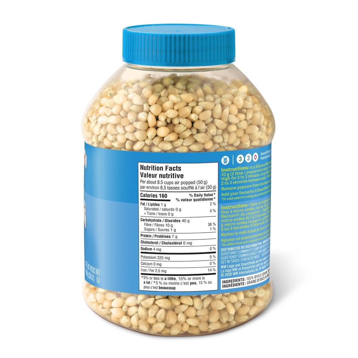 Premium white popcorn kernels - nutrition label