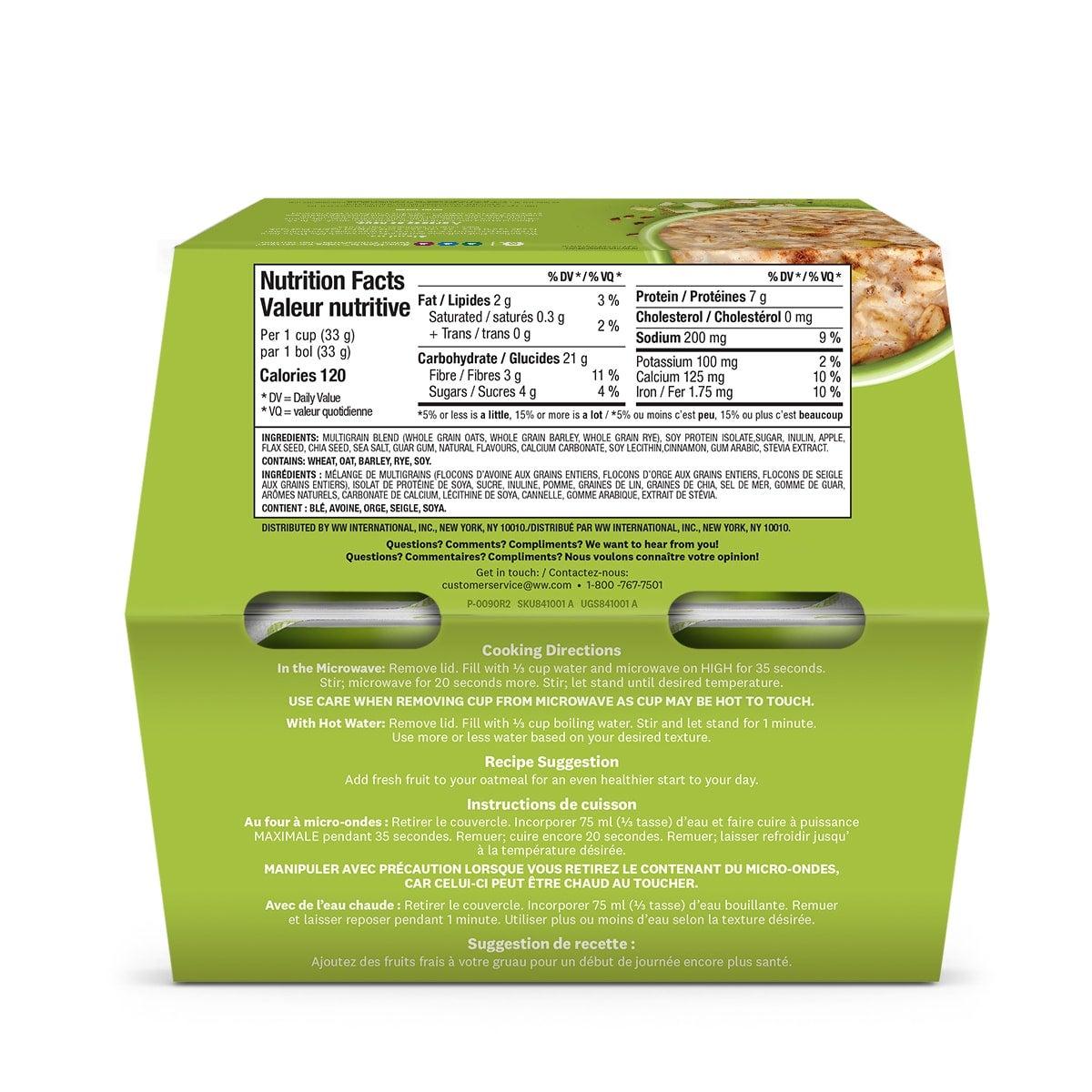 Apple Cinnamon Oatmeal - back of the box