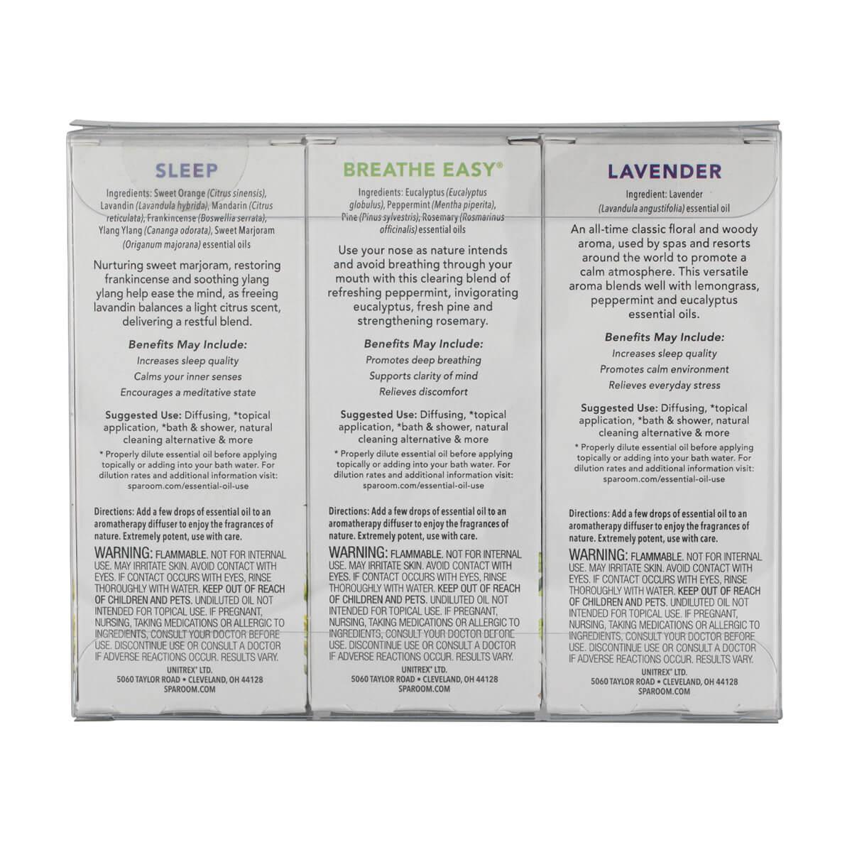 SpaRoom Essential Oils Sleep Set - back