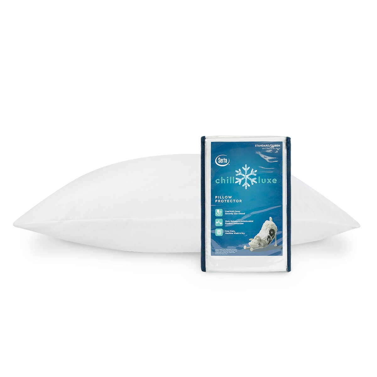 Serta Chill Luxe Pillow Protector - pillow on bed