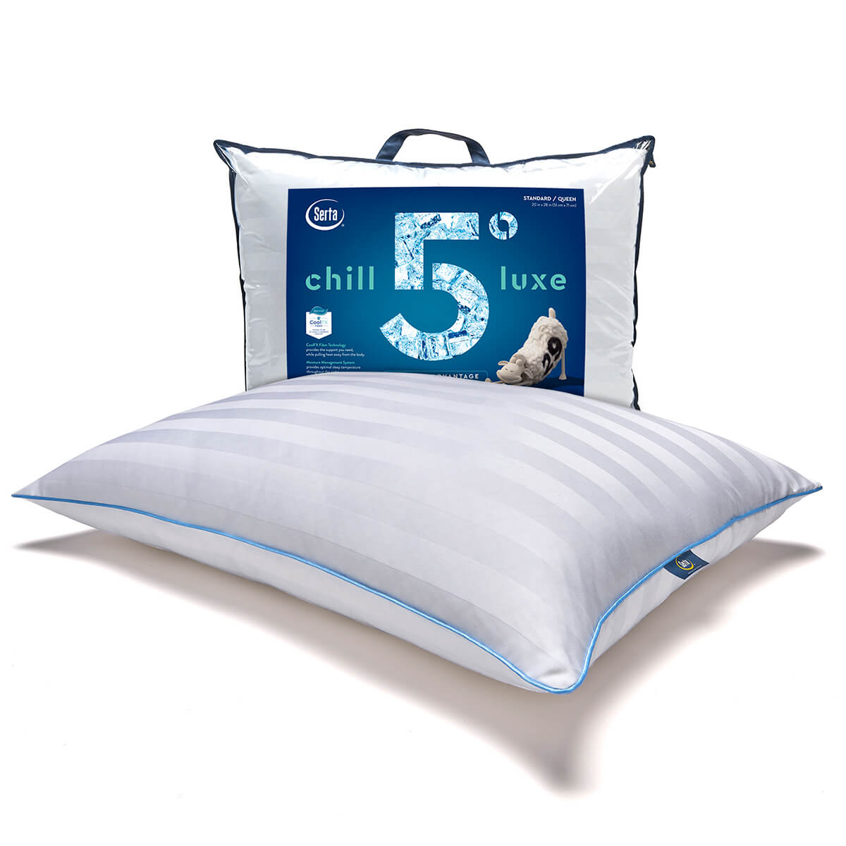 Serta 5 Degree Chill Luxe Cooling Pillow - pillow with packaging in front