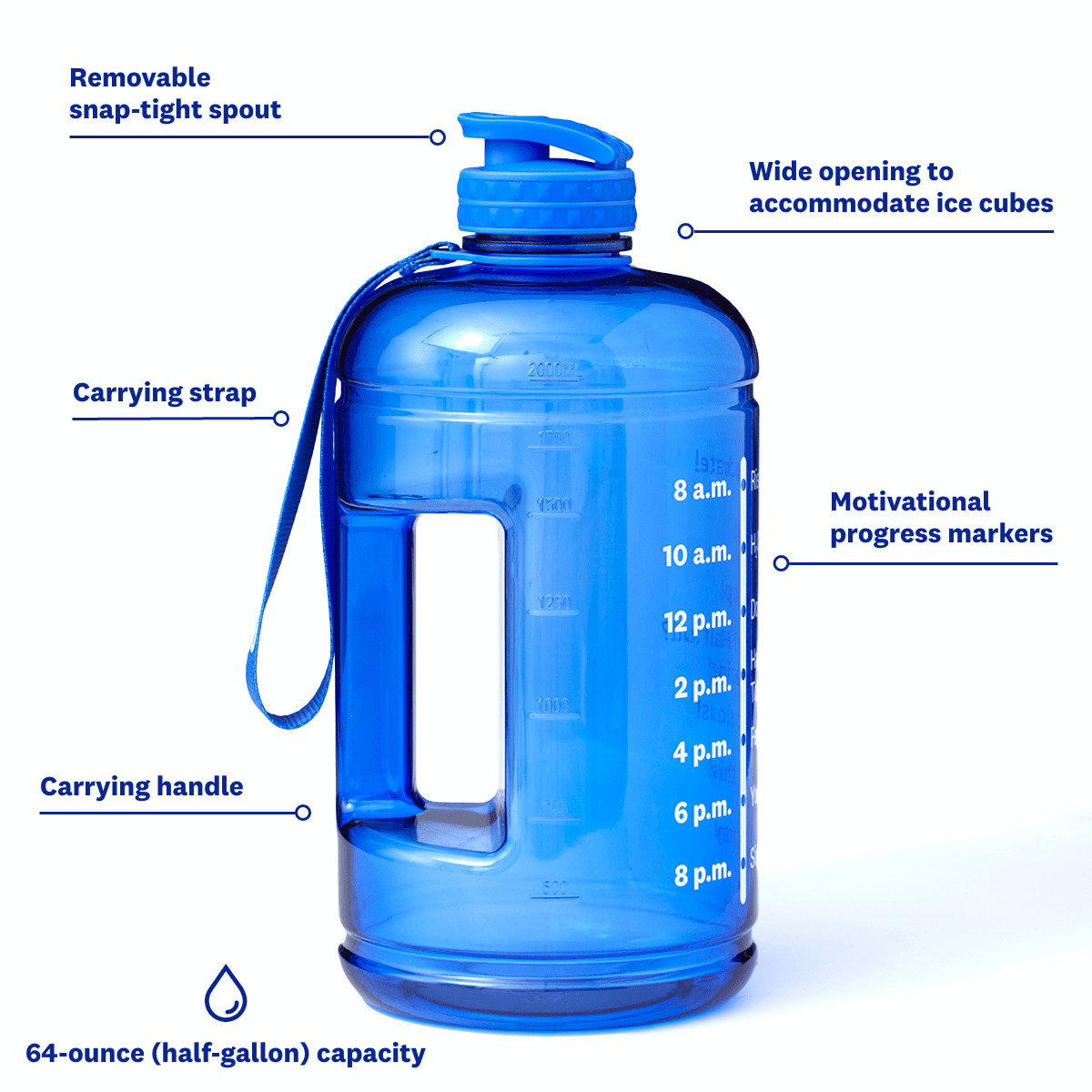 Half Gallon Water Bottle - front of bottle with labels