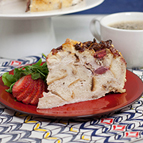 Bacon, Goat Cheese and Strawberry Breakfast Strata with Natural Rice Vinegar Reduction