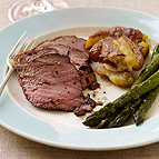 Roasted Lamb with Smashed Potatoes and Asparagus