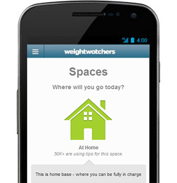 Mobile phone with spaces tool