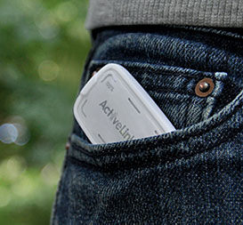activity link monitor in jeans pocket
