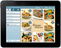 A tablet with a Weight Watchers mobile app