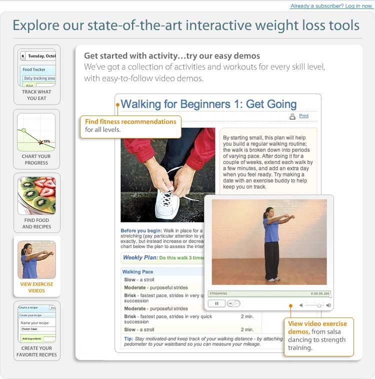 Explore our state of the art interactive weight loss tool