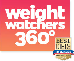 Weight Watchers 360° logo and Best Diets award from US News & World Report