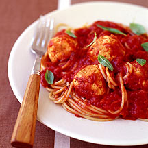 Picture of spaghetti with meatballs