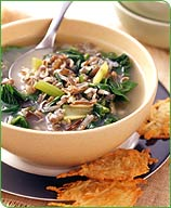 Photo of Wilted Greens and Wild Rice Soup with Romano Crisps by WW