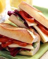 Photo of Mozzarella, red pepper, and pesto sandwich by WW