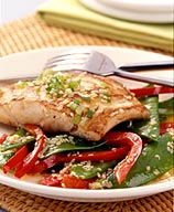 Photo of Sauteed Halibut with Snow Peas and Pineapple-Ginger Glaze by WW