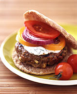 Photo of Feta-stuffed turkey burgers with minted-yogurt sauce by WW