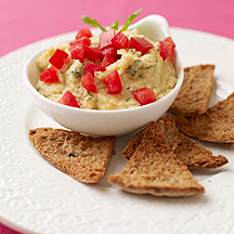 Photo of Lemon-mint chickpea dip with pita chips by WW