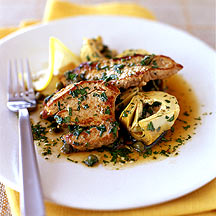 Photo of Pan-seared veal with capers, lemon, and artichokes by WW