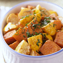 Photo of Roasted sweet potatoes and squash with brown sugar and spices by WW