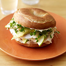 Photo of Turkey bagel-sandwich with avocado and green apple by WW