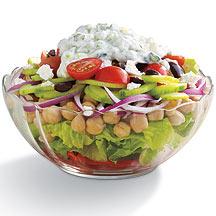 Photo of Layered Mediterranean salad with creamy yogurt cucumber dressing by WW