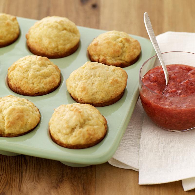 Photo of Lemon yogurt muffins with fresh strawberry sauce by WW