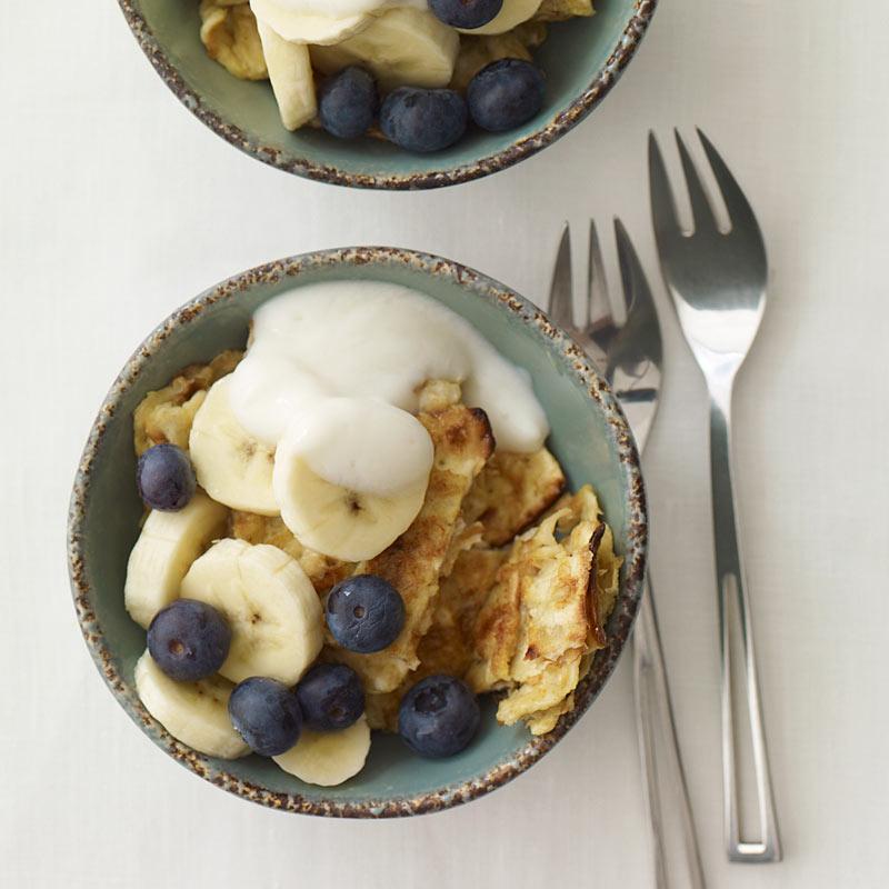 Photo of Matzo brei with bananas and yogurt by WW