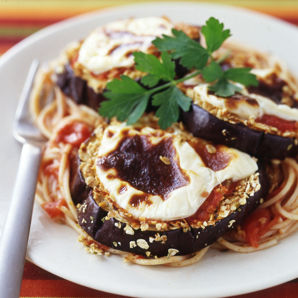 Photo of Baked Eggplant Parmigiana over Whole-Wheat Noodles by WW