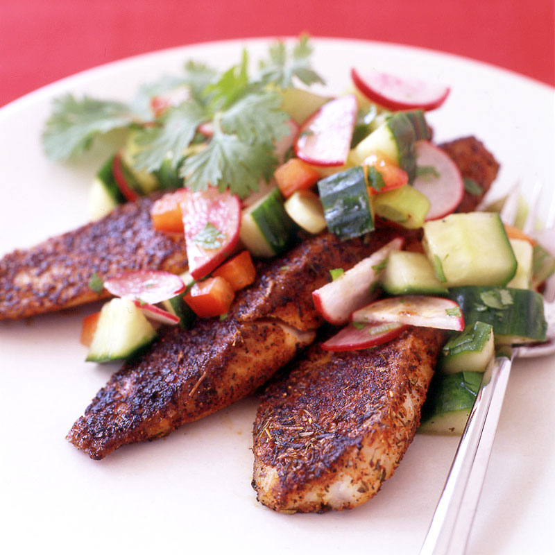 Photo of Blackened tilapia with radish and cucumber salsa by WW