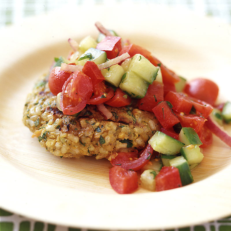 Chickpea and Brown Rice Veggie Burgers with Tomato Salad ...
