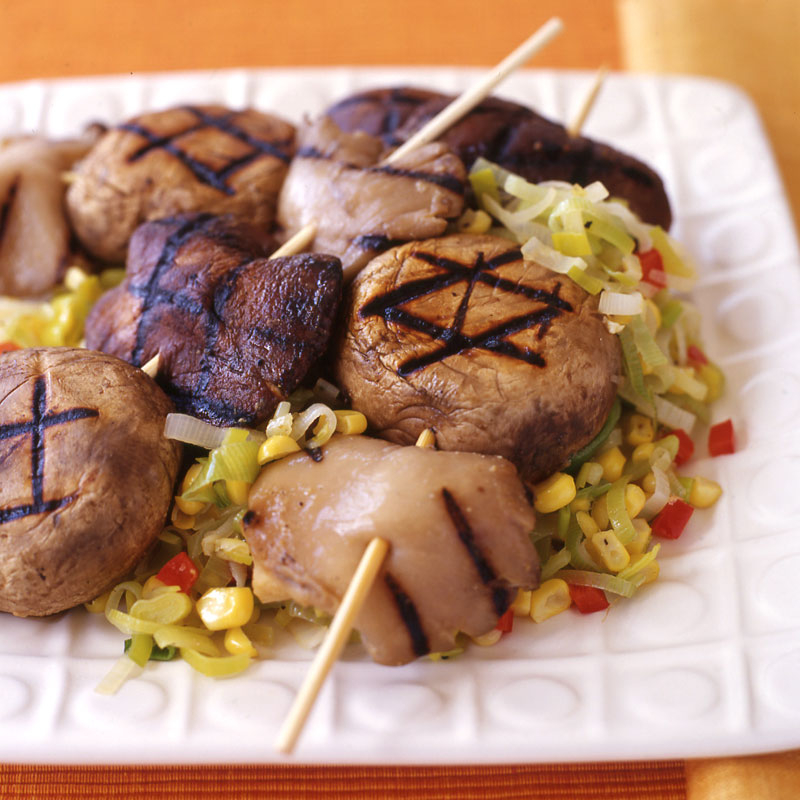 Photo of Grilled miso-marinated mushrooms with corn and leek relish by WW