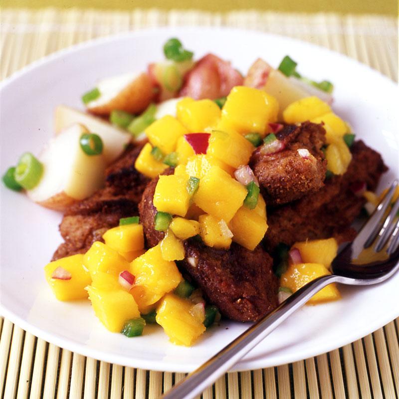 Photo of Jerked seitan with mango salsa and new potato salad by WW