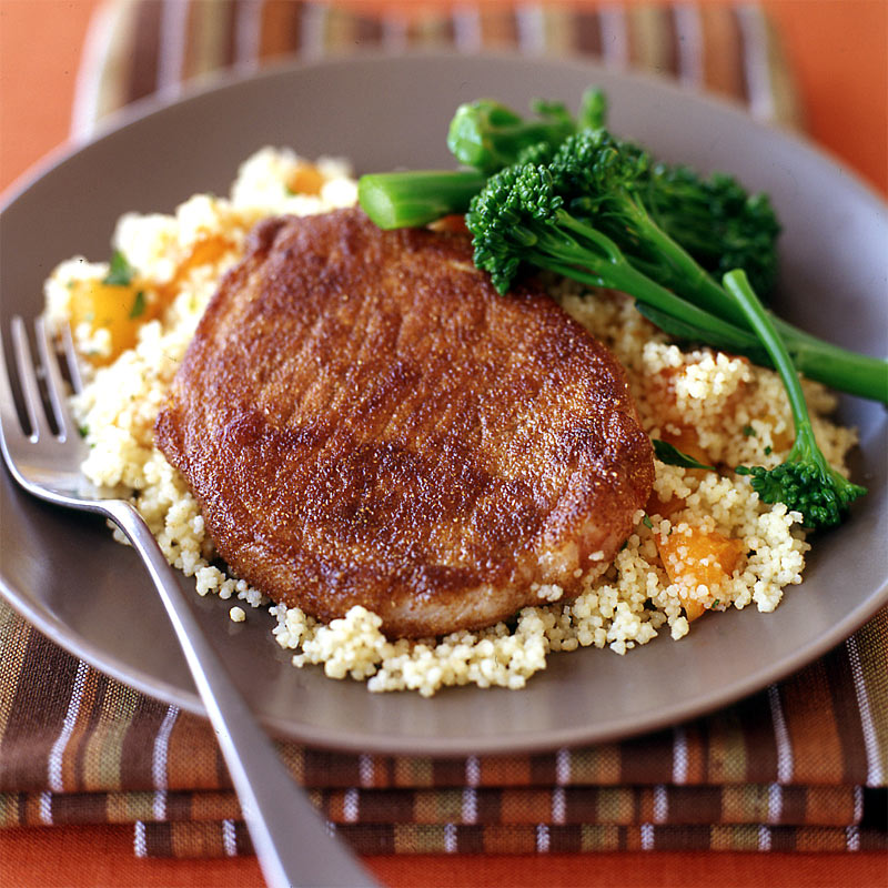 Photo of Moroccan-spiced pork chops with apricot couscous by WW