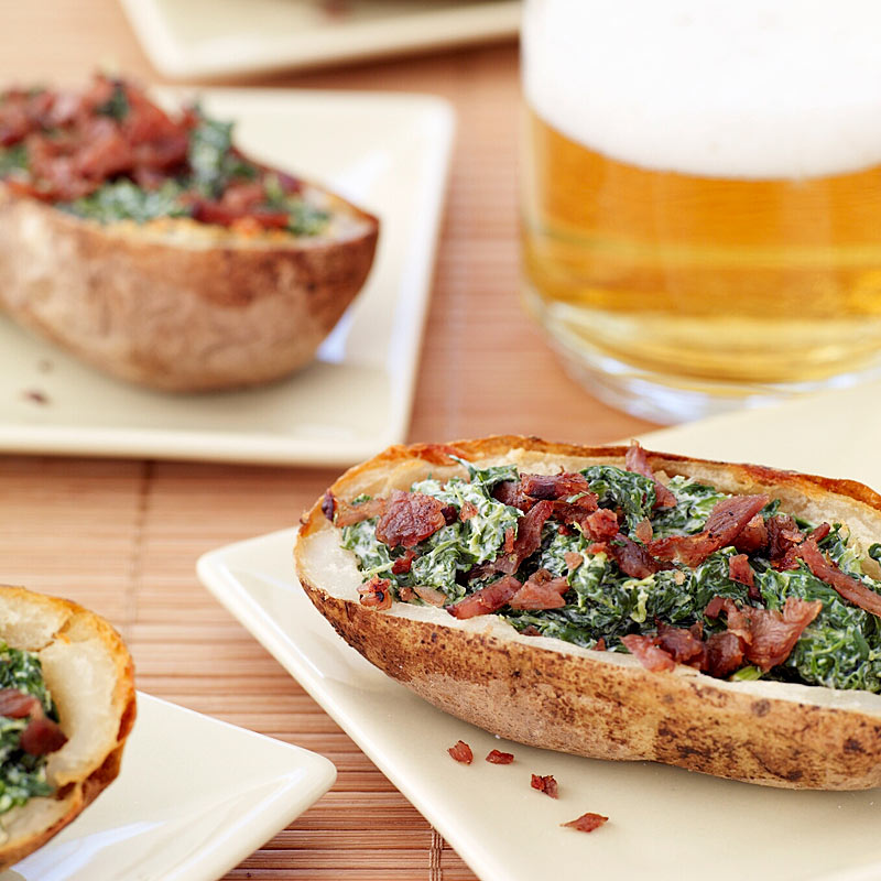 Photo of Baked potato skins with creamy spinach and turkey bacon by WW