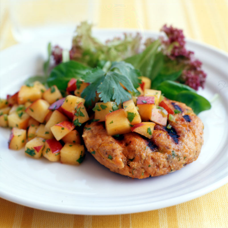 Photo of Salmon burgers with peach salsa by WW