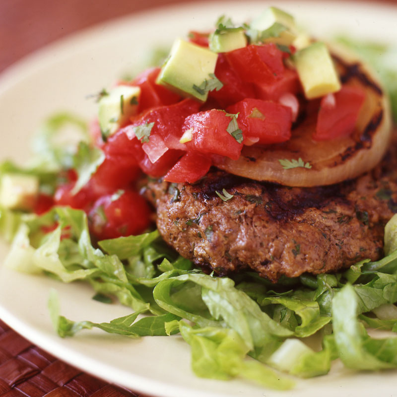 Photo of Tex-Mex Burgers with Charred Onion, Salsa and Avocado by WW