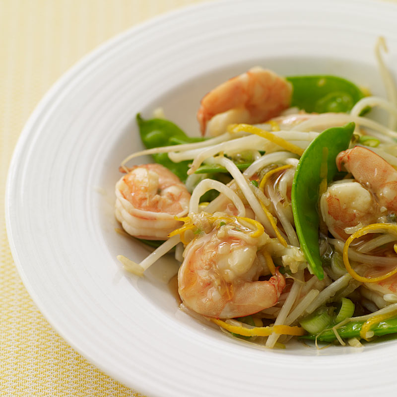 Photo of Stir-fried shrimp and snow peas in orange sauce by WW