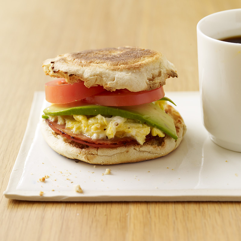 Egg And Canadian Bacon Sandwiches With Avocado Tomato