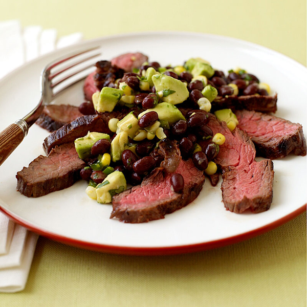 ... Recipe - Grilled Flank Steak with Corn, Black Bean and Avocado Salad