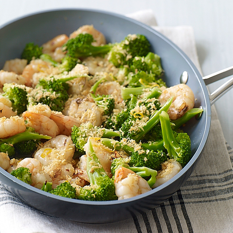 Garlicky Shrimp with Broccoli and Toasted Breadcrumbs