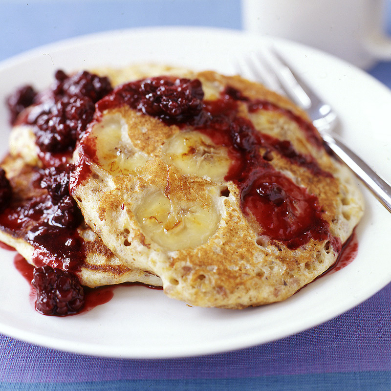 Photo of Whole-grain banana pancakes with blackberry syrup by WW