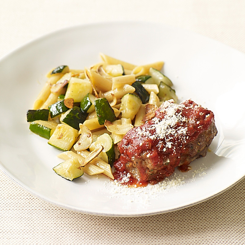 Photo of Mini Italian meatloaves with penne and sautéed zucchini by WW