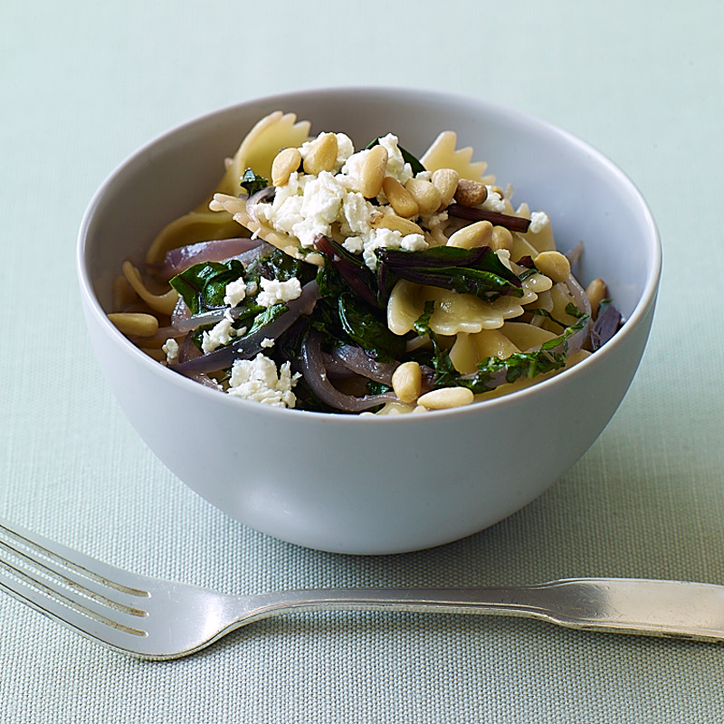 Photo of Farfalle with beet greens and feta by WW