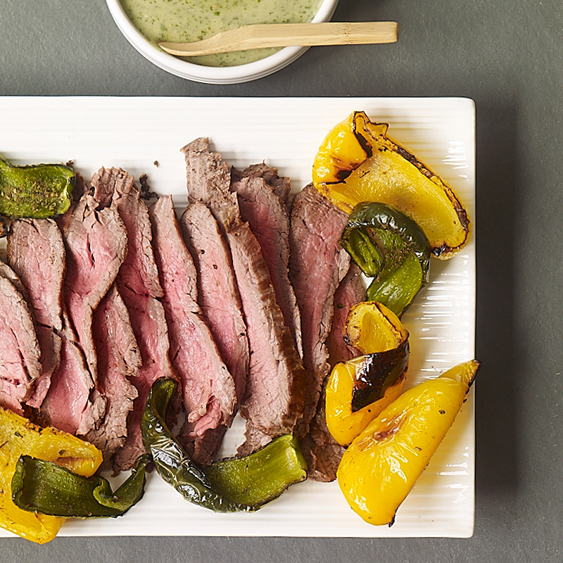 Photo of Broiled steak and peppers with easy spicy green sauce by WW