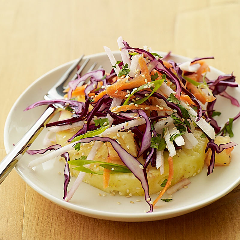 Photo of Asian slaw over sliced pineapple by WW