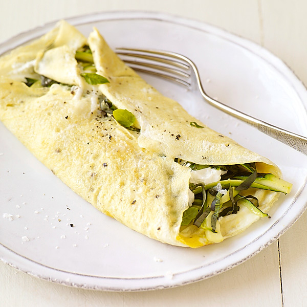 Photo of Zucchini, basil, and goat cheese omelet by WW