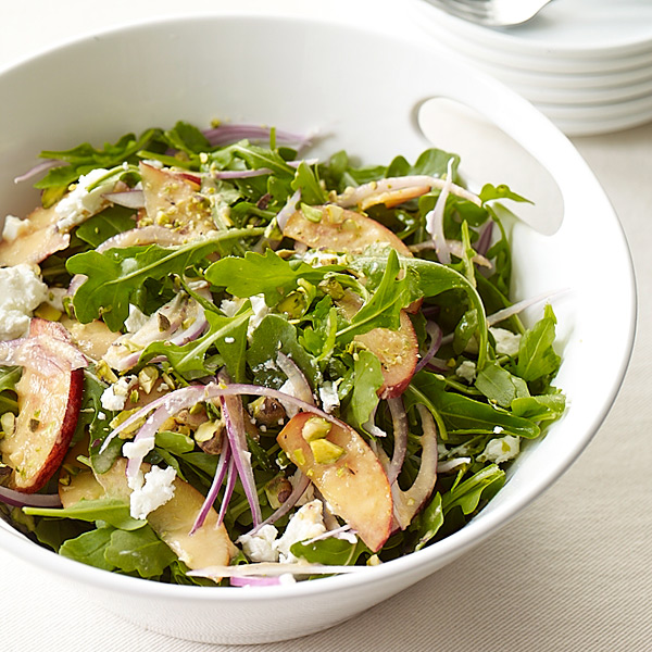 ... two roast chicken salad with peaches goat cheese and pecans recipe
