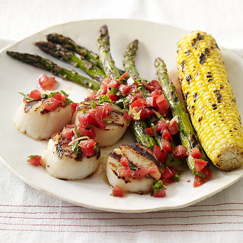 Grilled Scallops With Corn And Asparagus