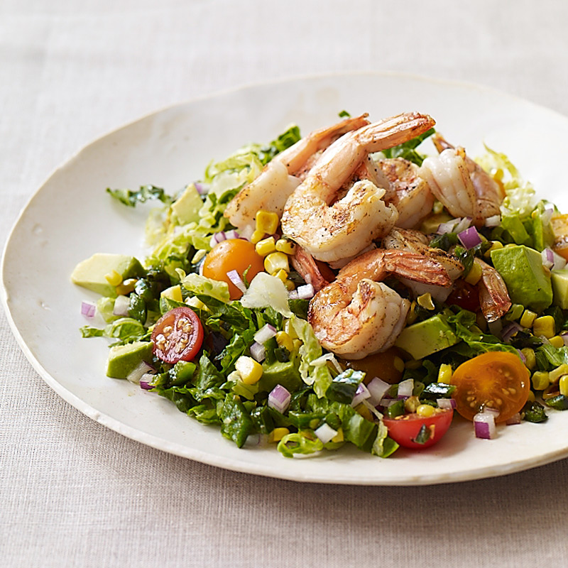 Photo of Shrimp, corn and avocado salad with cumin-lime dressing by WW