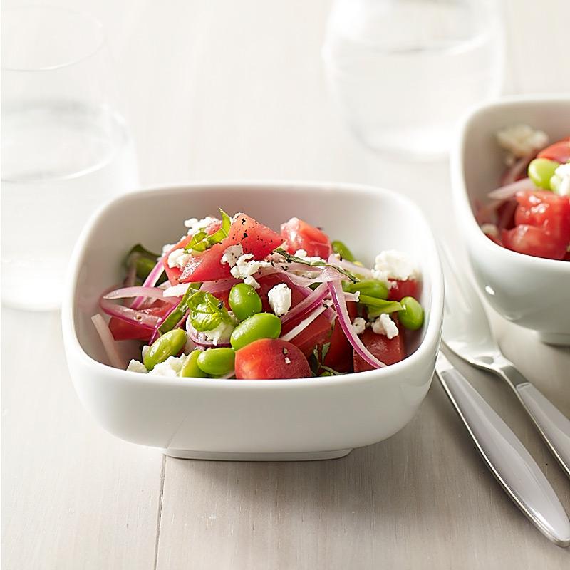 Photo of Edamame, tomato and feta salad with fresh basil by WW