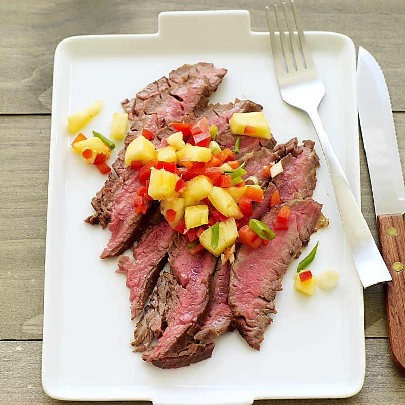 Photo of Asian-Spiced Flank Steak with Pineapple-Pepper Salsa by WW
